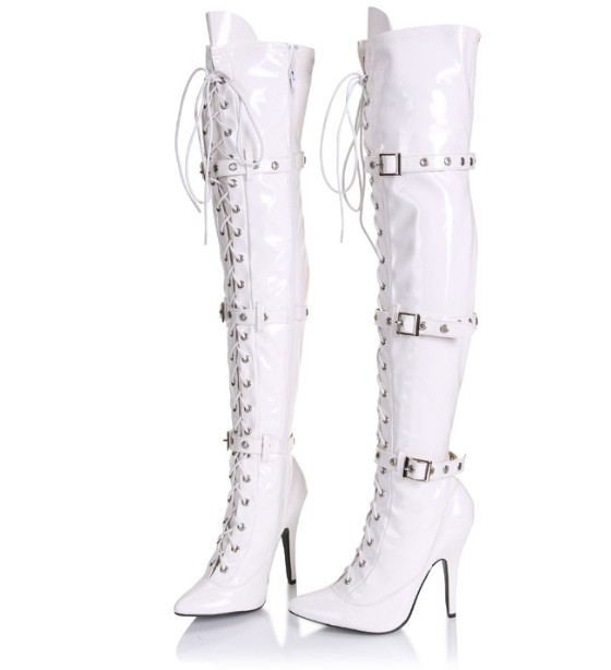 12cm  cross-bandage sexy high-heeled patent leather boots big size 5-13 - white cd ac dc for those about to rock we salute you remastered