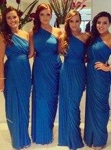 Cheap Custom Mermaid Bridesmaid Dress Long Navy Blue Chiffon Dresses Elegant Folding Shoulder Bride Gowns Vestido De Festa