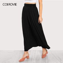 a2ccc3b1379d0d COLROVIE Zwart Solid Ruches Taille Jersey Casual Rok Vrouwen 2019 Zomer  Streetwear Koreaanse Stretchy Maxi Rok Dames Lange Rokke.