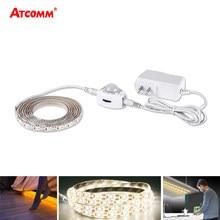 Veilleuse sous les armoires, 5M LED, détecteur de mouvement PIR, haute luminosité, avec adaptateur d'alimentation 12V, pour lit, couloir, escalier, 5m, 60 LED s/M