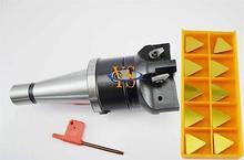 New NT40 M16 FMB27 45L+ Triangle face end mill TP22-80-27-4T + 10pcs TPKN2204 carbide insert CNC Mill