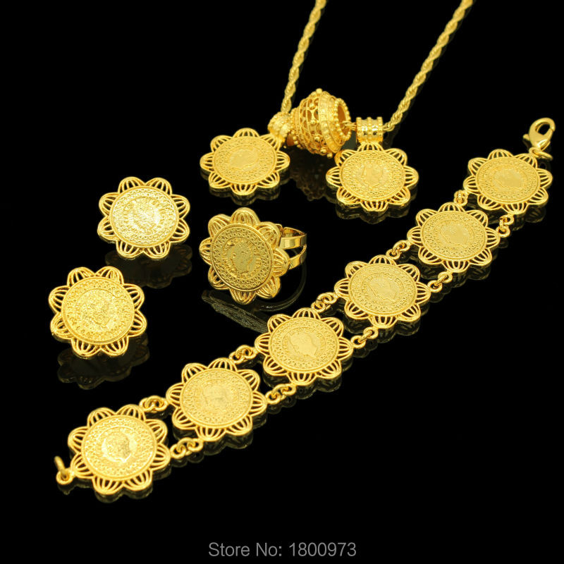 Newest Ethiopian Coin Jewelry Sets 24K Gold Color Pendant/Necklace/Earrings/Ring/Bracelet Women Wedding Items купить в Москве 2019