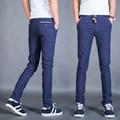Plus Size 28-36 2016 Spring Summer Mens Pants Cotton Thin Slim Fit Casual Men Business Classic Dress Pants 2 Colors