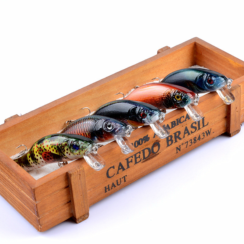 5pcs set Sea Fishing Wobblers 9cm 12 9g Bionic Fishing Lures Unique Body Textures Fish Colored Drawing Pattern Artificial Baits in Fishing Lures from Sports Entertainment