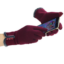 Fashion Lace Bow Women Winter Gloves Female Ladies Girls Touch Screen M