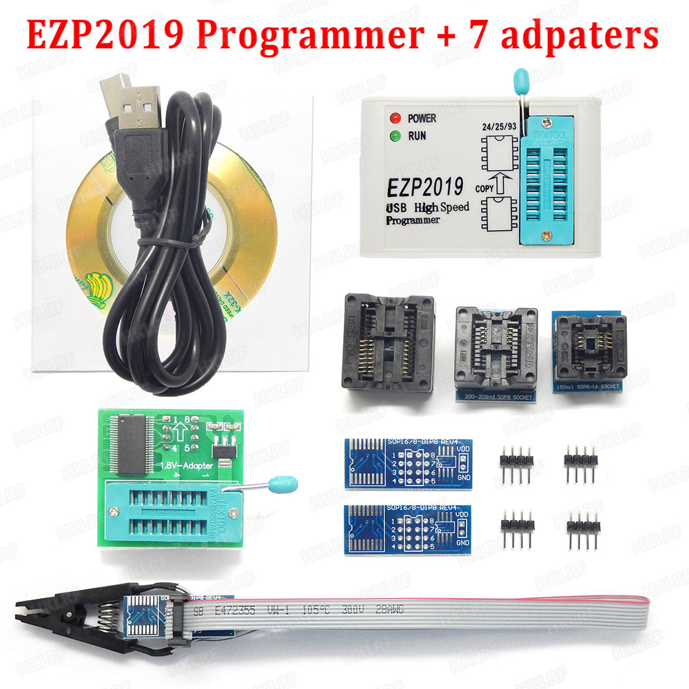 US $8 48 15% OFF|2019 Newest EZP2019 High Speed USB SPI Programmer+5  Adapters Support 24 25 93 EEPROM 25 Flash Bios Chip-in Integrated Circuits  from