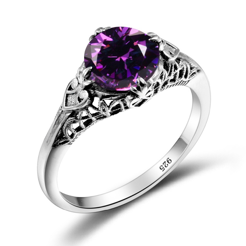 szjinao love women handmade wedding ring 925 sterling silver purple stone turkish rings factory direct wholesale - Handmade Wedding Rings