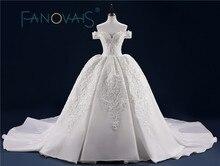 Gaun pengantin mewah penuh manik-manik renda gaun pengantin dengan kereta panjang manik-manik payet mutiara Vestido de Novia Wedding Dresses