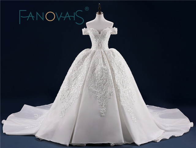 Luxury Wedding Dress Full Beading Lace Bridal Gowns With Long Train Sequin Beads Pearls Vestido De