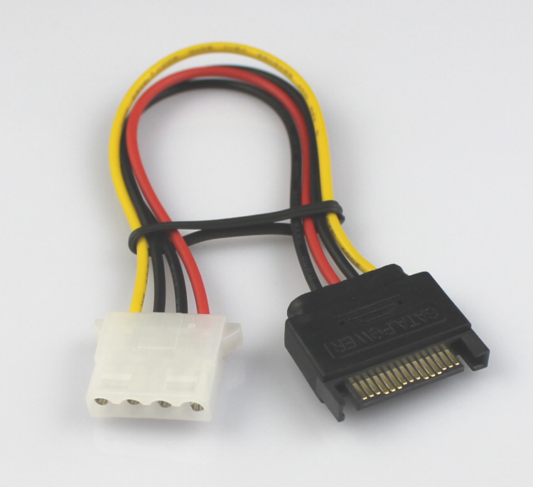 High quality 18AWG 15 Pin SATA Male to Molex IDE 4 Pin Female Adapter Extension Power