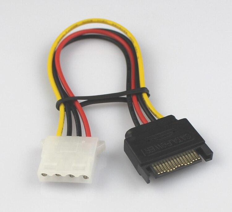 高品質18awg 15ピンsataオスモレックスide 4ピンメスアダプタ延長電源ケーブル、200ピース/ロット  グループ上の パソコン & オフィス からの パソコン ケーブル & コネクタ の中 1