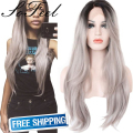 Sofeel 2 Tones Synthetic Lace Front Wig Grey Silver Ombre Hand Tied Wavy Wigs Dark Roots perruque synthetic  women