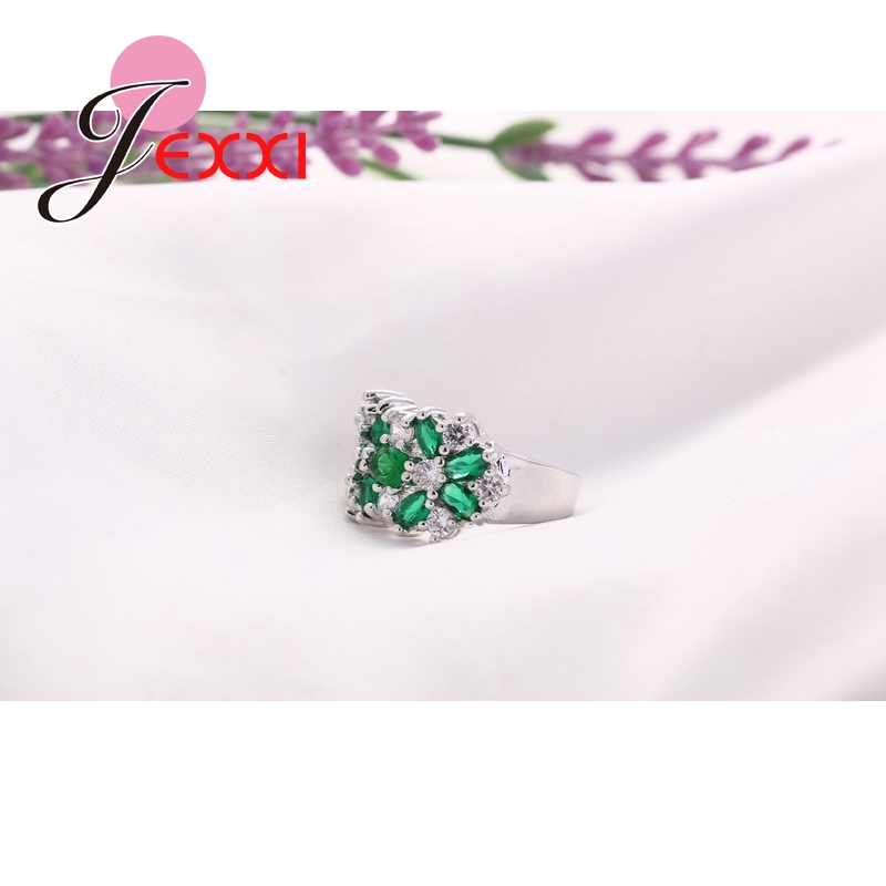 Hot Jual 925 Sterling Silver Wanita Engagement Wedding Rings Dengan - Perhiasan fashion - Foto 3