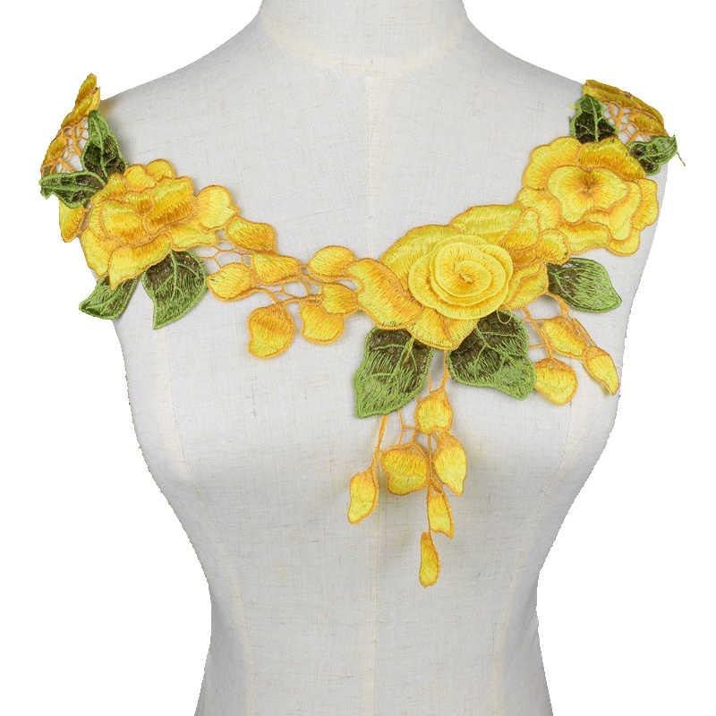 Màu vàng Phối Ren Đầm Táo Họa Tiết Áo May Cốp TỰ LÀM 3D Hoa Viền Cổ Cổ Trang Phục Phụ Kiện Trang Trí