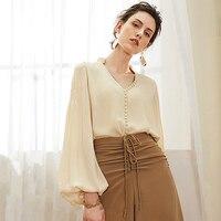 100% шелковая блузка женская рубашка с v образным вырезом и пуговицами, украшенная однотонными длинными рукавами фонариками, офисный Топ, эле