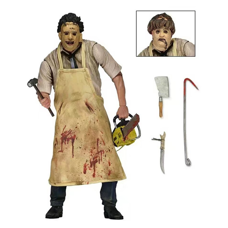Elsadou 40th Leatherface The Texas Chainsaw MASSACRE PVC Action Figure Collectible Model Toy With box 7 18cm 7 18cm neca heroes of the storm the lich king arthas pvc action figure collectible model toy