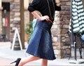 2016 nueva manera del verano Coreano falda grande yardas grandes femenina denim faldas paquete falda de la cadera palabras falda paraguas delgado