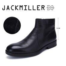 Jackmiller/зимняя мужская обувь; ботильоны из коровьей кожи; мужские слипоны из натуральной шерсти; теплая износостойкая подошва из термопластичной резины высокого качества; цвет черный