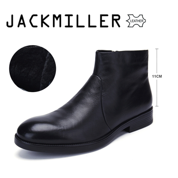 jackmiller winter men shoes cow leather ankle boots men slip-on natural wool warm wear-resistant TPR outsole high quality black - discount item 54% OFF Shoes