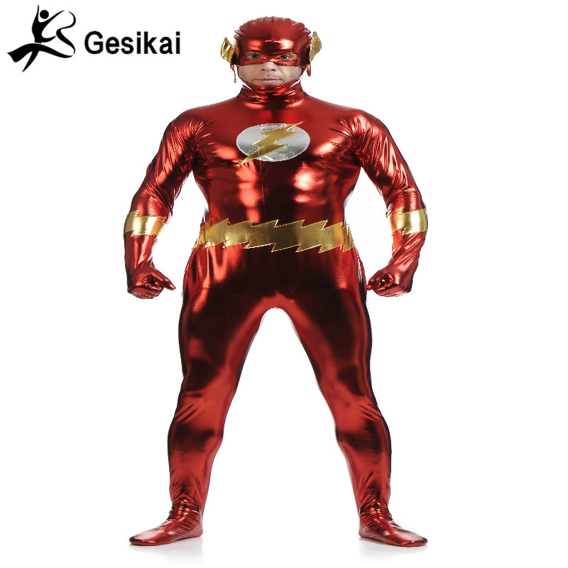 Men's The Flash Cosplay Costume Metallic Polyester Bodysuit Men Zentai Catsuit for Halloween