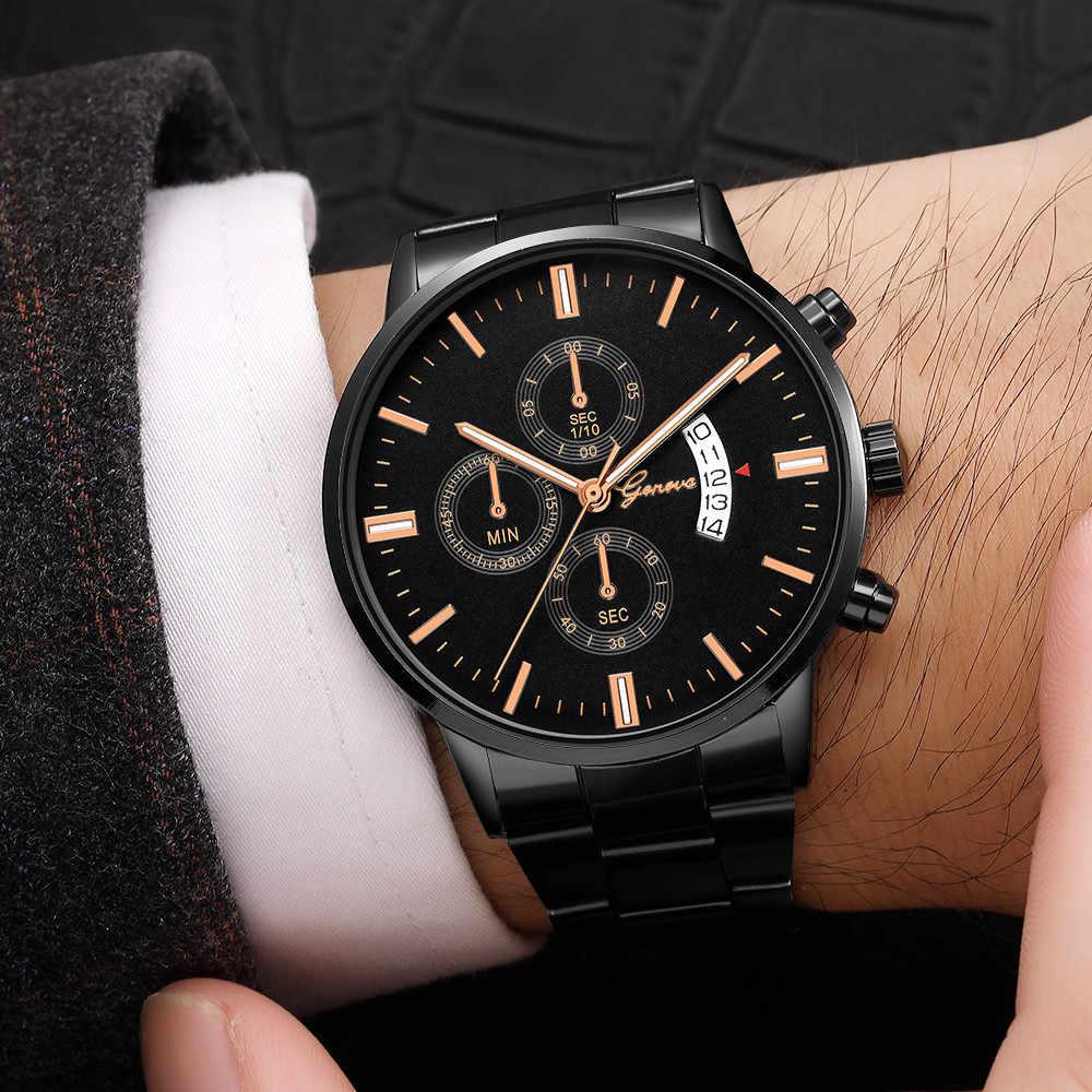 Relojes de pulsera de acero inoxidable, cuarzo, fecha analógica, regalos deportivos, reloj de cuarzo para hombre, reloj para hombre, fecha del día, reloj para hombre