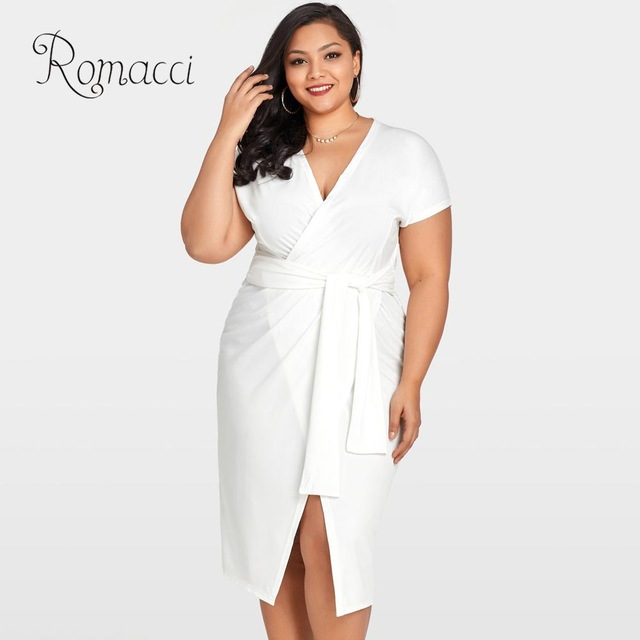 Romacci 5XL Plus Size Wrap Dress Women Cross Over Tie Waist White ...