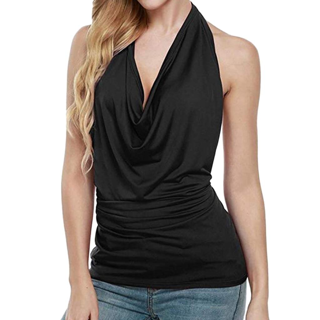 Vest Tops Drape-Cowl Neck-Tank Streetwear Backless Vintage HALTER Women Sexy Sleeveless