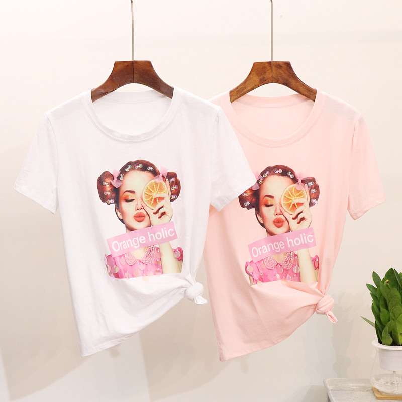 2019 New Heavy Industry Beading Girls Fashion Character Printed Short-sleeved O-neck T-shirt Women's Tops Shirts
