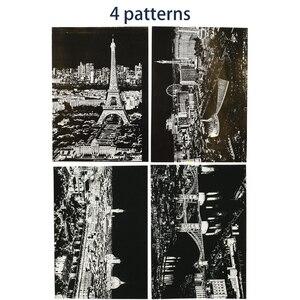 Image 4 - 4 pz/lotto City View Scratch carta di Arte pittura London Las Vegas Casino Firenze Parigi carta Da Disegno per I Bambini Giocattoli Da Colorare libri