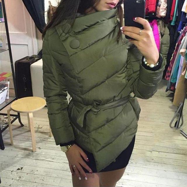 Morno mulheres jaqueta de Inverno parkas de Algodão Acolchoado para baixo casaco Cinto de gola alta com cinto para Senhoras 3 cores casacos
