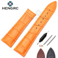 HENGRC Watchbands 20mm 22mm Genuine Leather Watch Band Strap Black Brown Orange Belt Replacement No Buckle For Omega