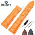 Hengrc pulseiras 20mm 22mm genuíno relógio de couro banda strap black brown orange substituição da correia sem fivela para omega