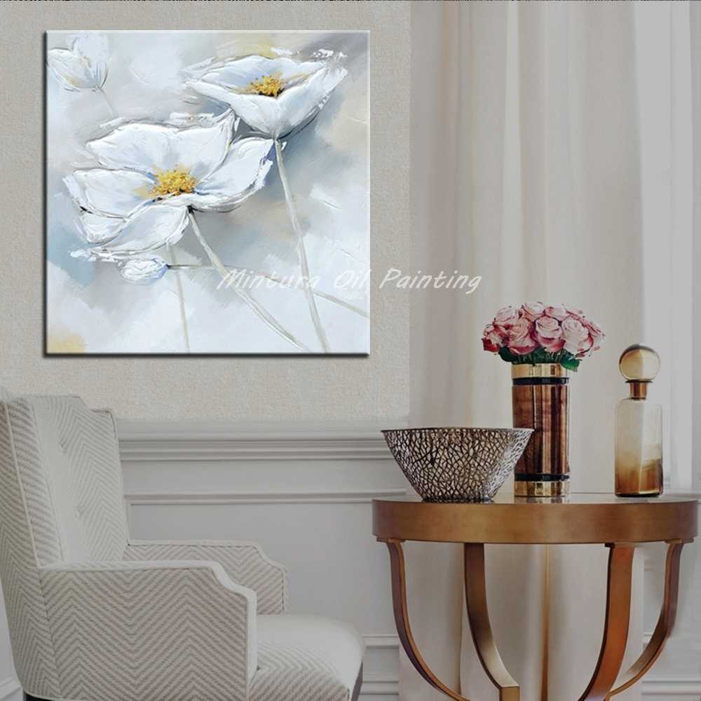 Mintura Paintings Hand Painted White Flowers Oil Painting On Canvas Wall Art Pictures For Living Room Home Decor No Frame Gift