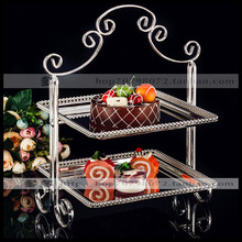 1PCS Metal European double-layer silver plated square snack stand wedding dessert table baking West point