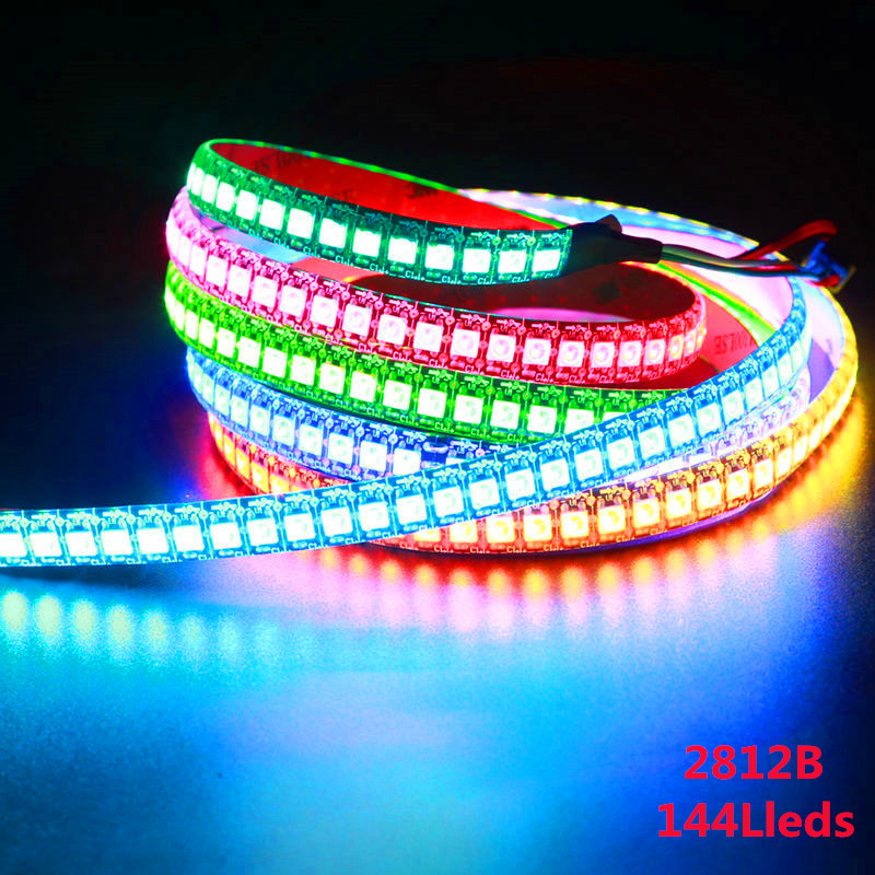 WS2812B DC5V Waterproof LED Pixel Strip Light 1m/4m/5m 2812 IC Built-in Individually Addressable RGB Tape Lamp 30/60/144 Leds/m