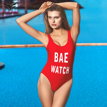 NAKIAEOI 2018 New One Piece Swimsuit Sexy Swimwear Women Bandage High Cut Bodysuit Backless Bathing Suit Swim Beach Red Monokini