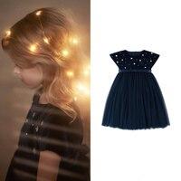 Girls Velvet Net yarn Shiny Starry sky Rhinestone Puff princess