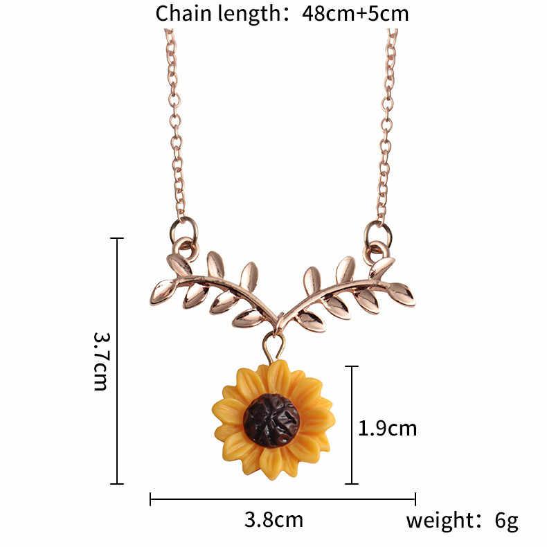 แฟชั่น Sunflower Leaf จี้สร้อยคอน่ารักดอกไม้ Choker Collarbone โซ่ประณีตเครื่องประดับสร้อยคอ Flawless แรงบิด