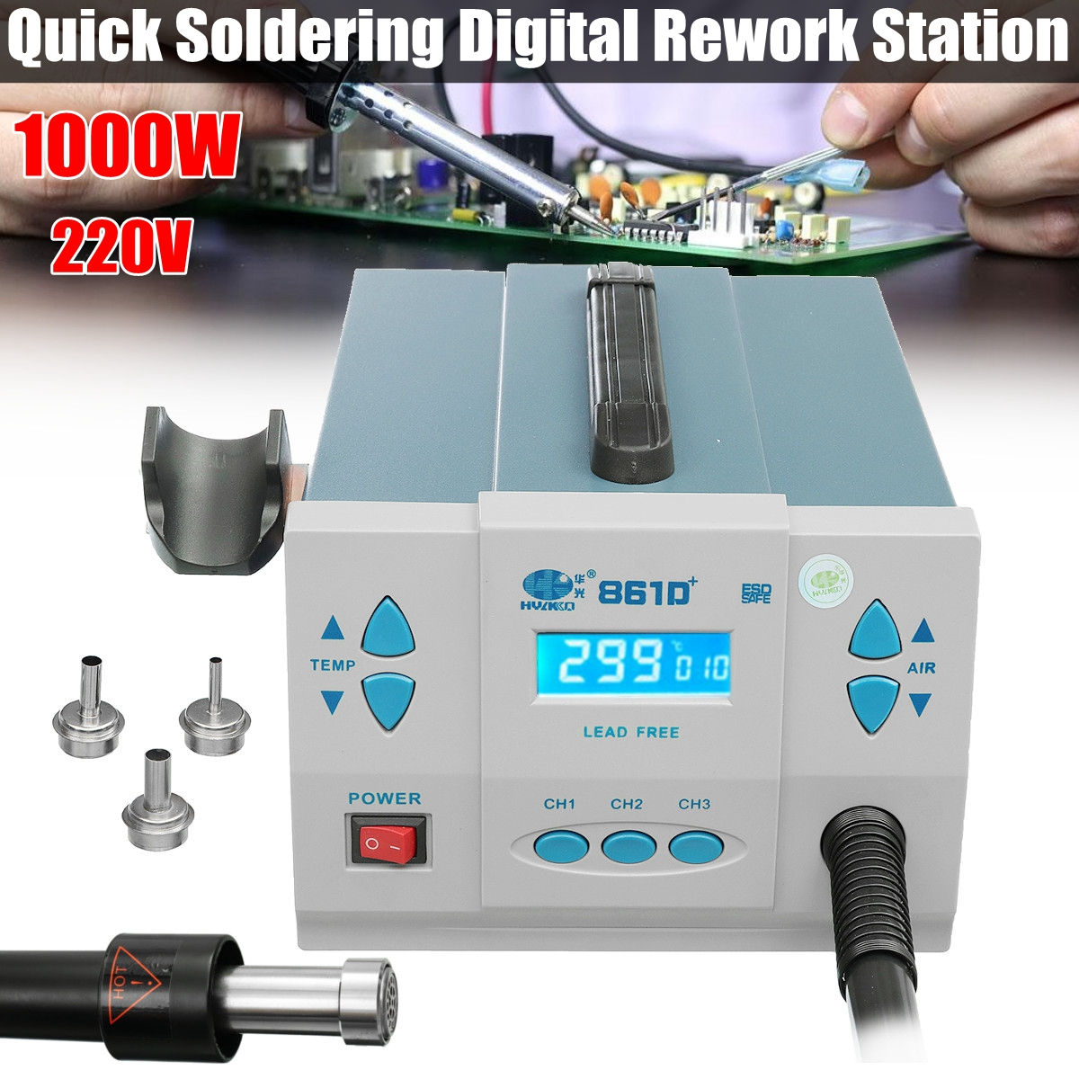Quick Soldering 861DW+ 1000W Digital Rework Station 220V Lead-free Desoldering