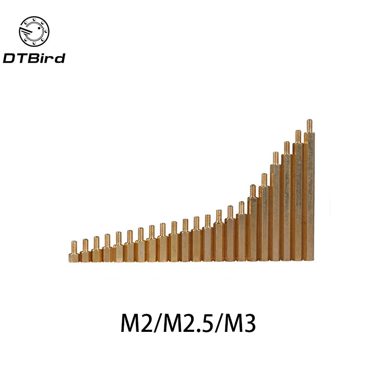 50Pcs M2*L+3mm M2.5/M3*L+6mm Hex head Brass Spacing Screws Threaded Pillar PCB Computer PC Motherboard StandOff Spacer