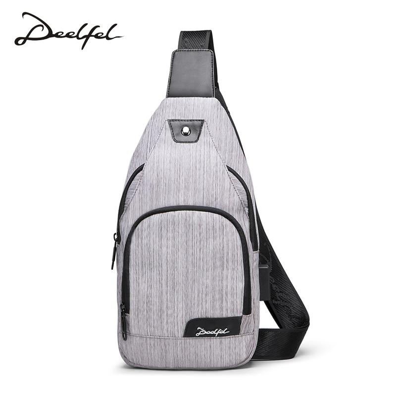 DEELFEL Sling Bag Men USB Charging Shoulder Bag Man Water Resistant Chest Bag Men Large Capacity Chest Pocket for 8 inch ipad kaka large capacity chest bag for men