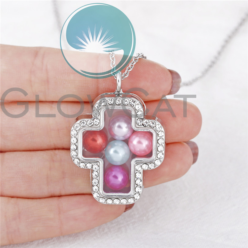 Rhinestone Cross Floating Locket Pendant Glass Charms Magnetic Living Memory Photo Beads Locket Necklace