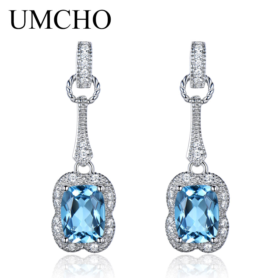 UMCHO 3.2CT Natural Blue Topaz Gemstone Earrings 925 Sterling Silver Earrings For Women Fine Jewelry Party Gift 2018 New jewelrypalace halo 2 6ct swiss blue topaz stud earrings 925 sterling silver fine jewelry new earrings for women party gift