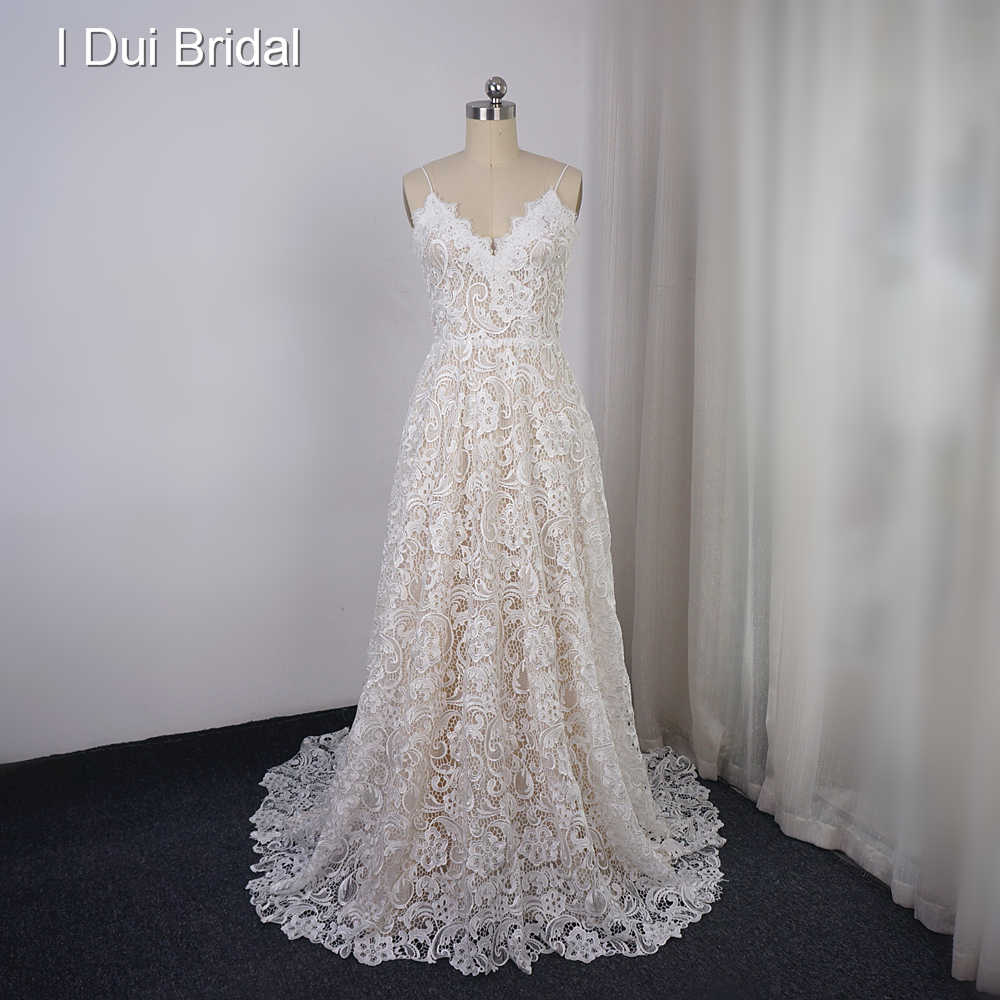 High Quality 3D Lace Wedding Dress A Line Spaghetti Strap Bridal Gown