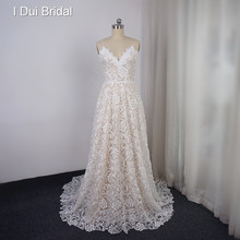 High Quality 3D Lace Wedding Dress A Line Spaghetti Strap Bridal Gown(China)