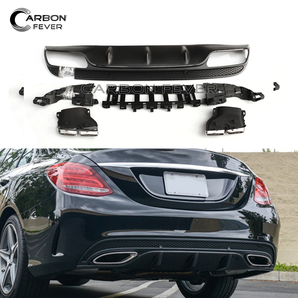 For Mercedes W205 2015 + Rear Diffuser & Silver Exhaust 4-door Sedan with AMG Package Sport Edition C300 C350