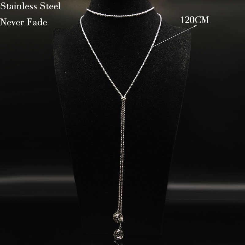 2019 moda długi naszyjnik choker ze stali nierdzewnej naszyjnik dla kobiet naszyjniki w kolorze srebrnym i wisiorki biżuteria collier femme N18660