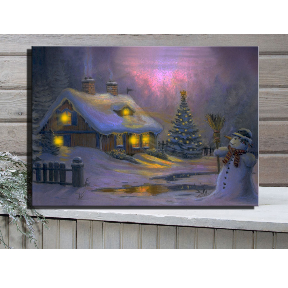 led canvas art illustrated village cottages with snowman on christmas day at night picture. Black Bedroom Furniture Sets. Home Design Ideas