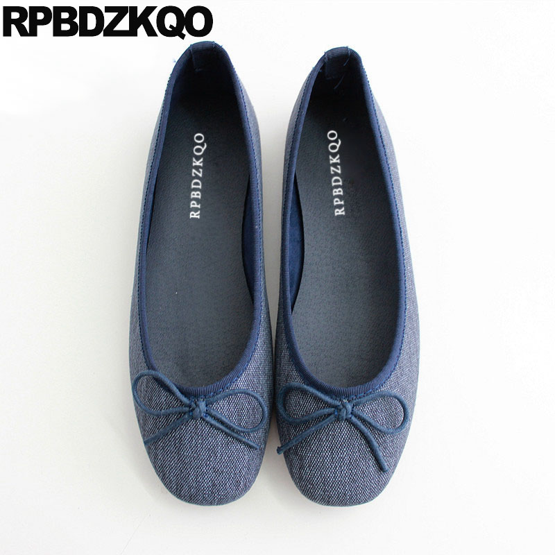 Patent   Leather   Cute Comfortable Square Toe Ladies Denim Shoes Candy Woven Bowtie Flats Jeans Ballerina   Suede   Women Ballet