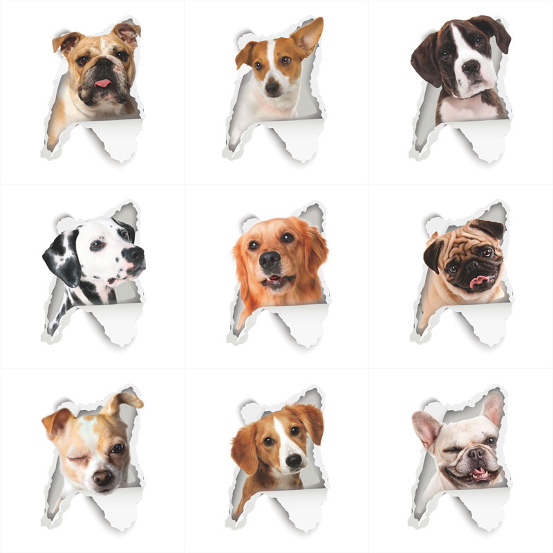 %Hole View Vivid Animal Dog Wall Sticker Bathroom Toilet Living Room Kitchen Decoration Animal Vinyl Decals Art Sticker Poster
